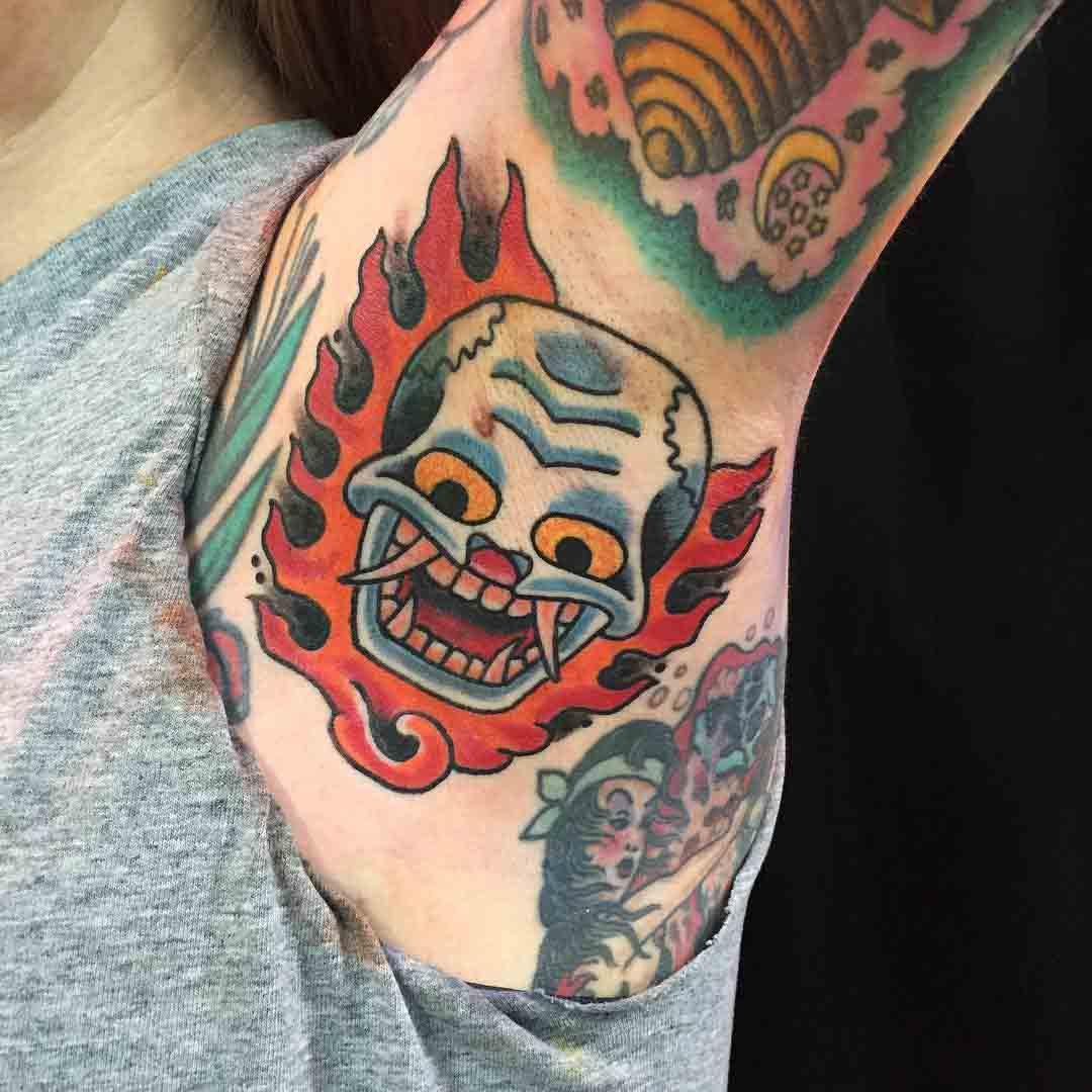Flame Skull Tattoo by tysonarndt