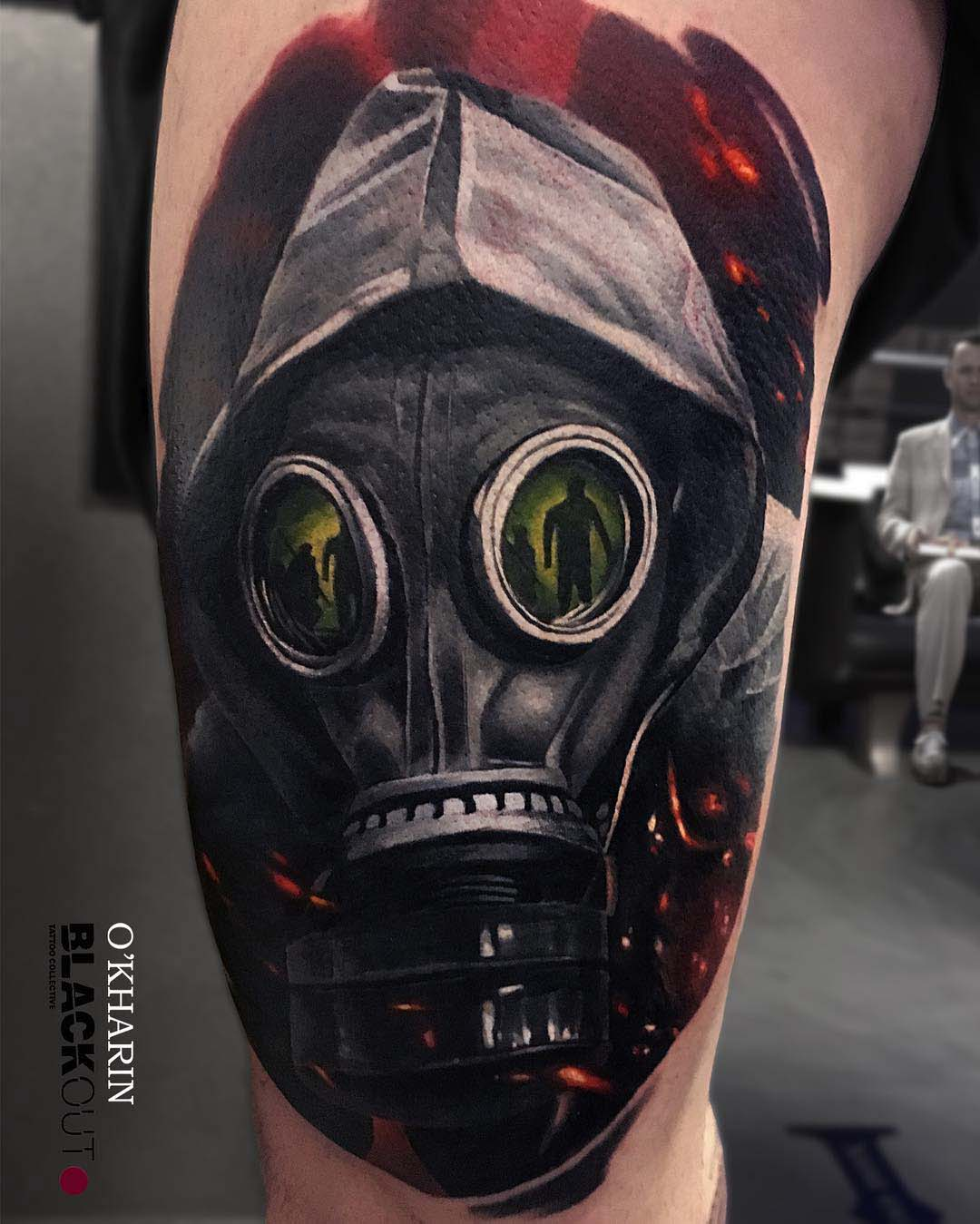 realistic tattoo gas mask