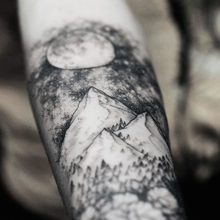 moon night tattoo mountains on arm