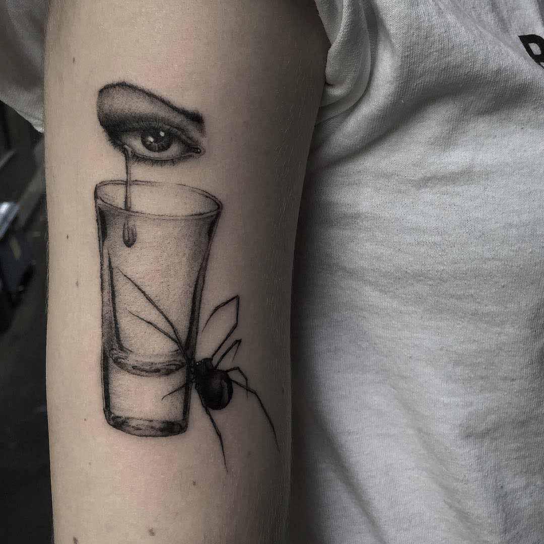 tear shot tattoo spider