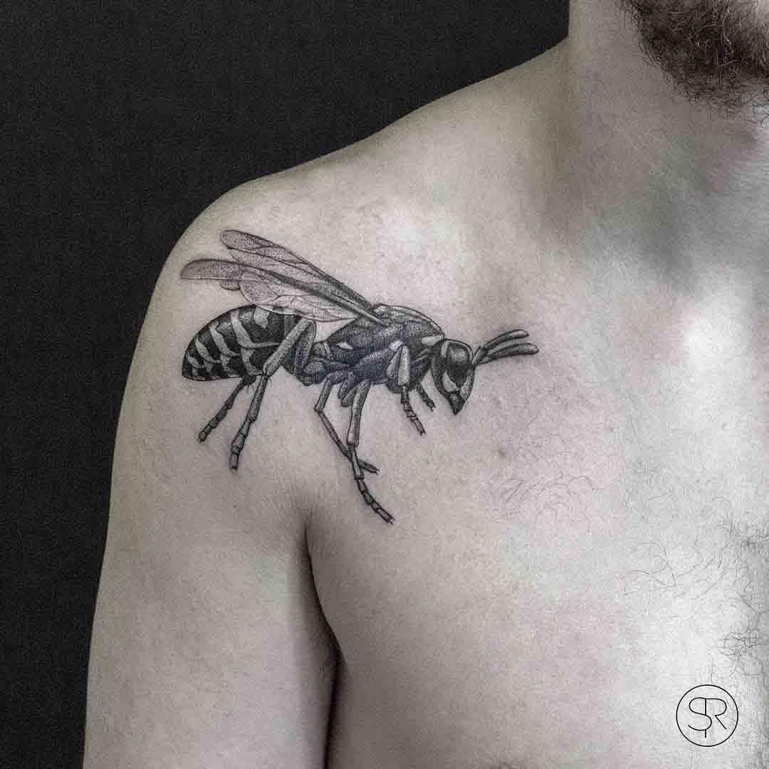 front shoulder tattoo wasp