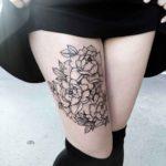 Cute Flowers on Thigh Tattoo