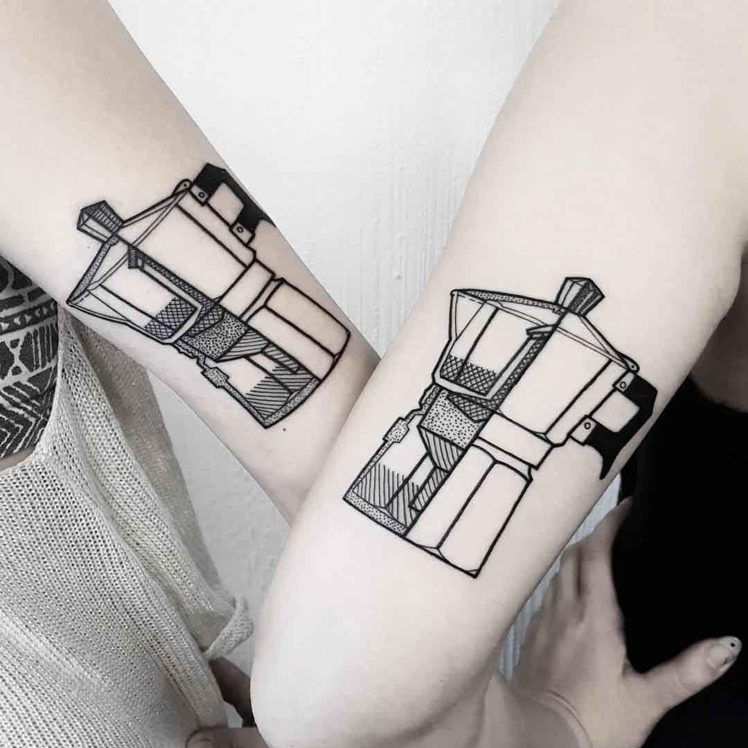 couple tattoo moka pot