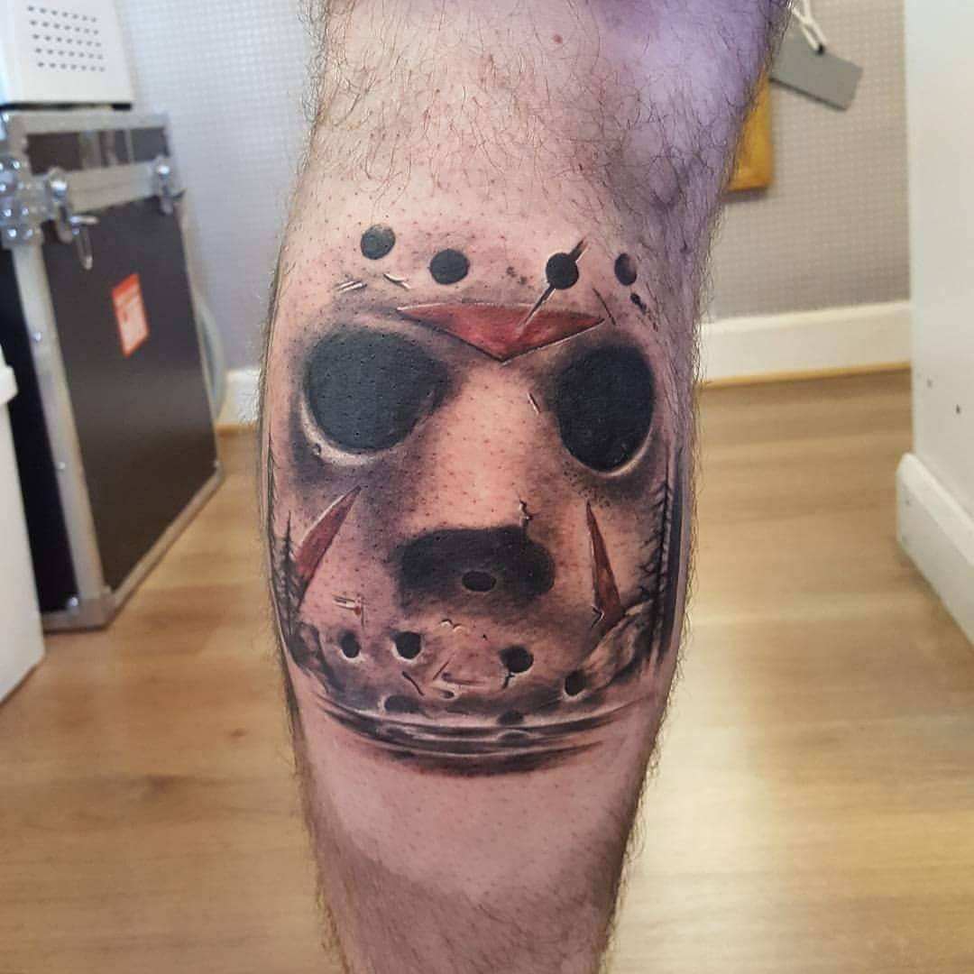 friday 13th tattoo on calf
