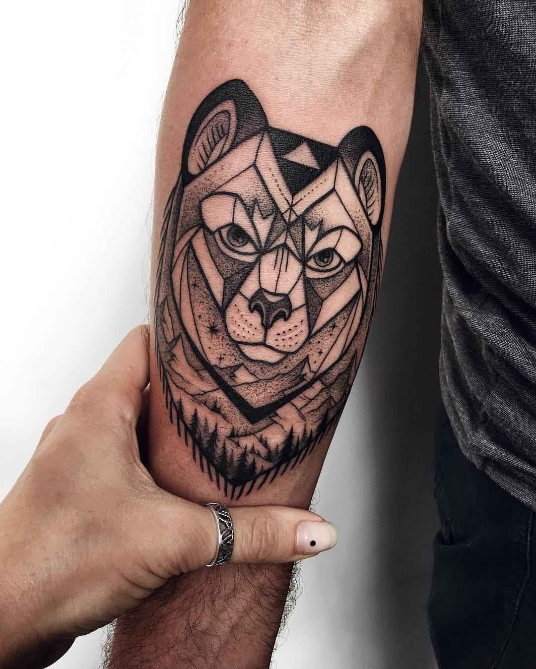 arm tattoo bear dotwork