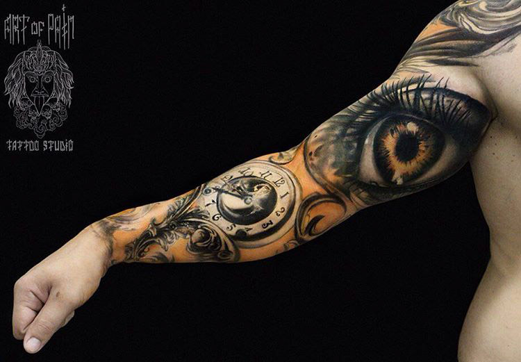 realistic tattoo sleeve clockface bicep eye