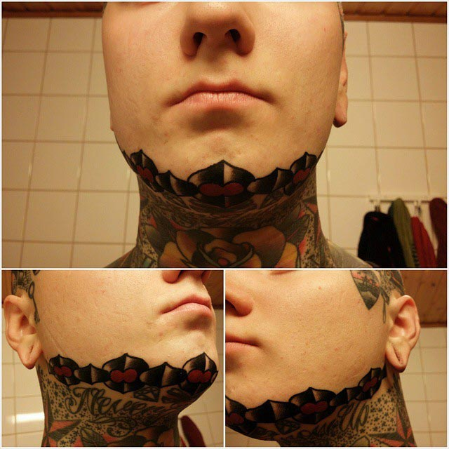 Chain Tattoo on Chin by txh_59