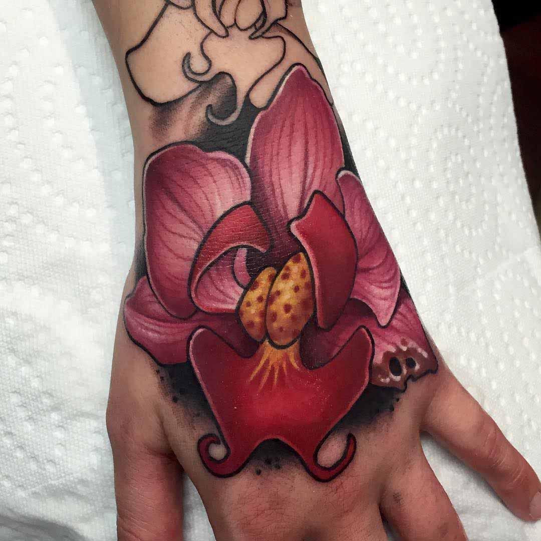 hand tattoo flower