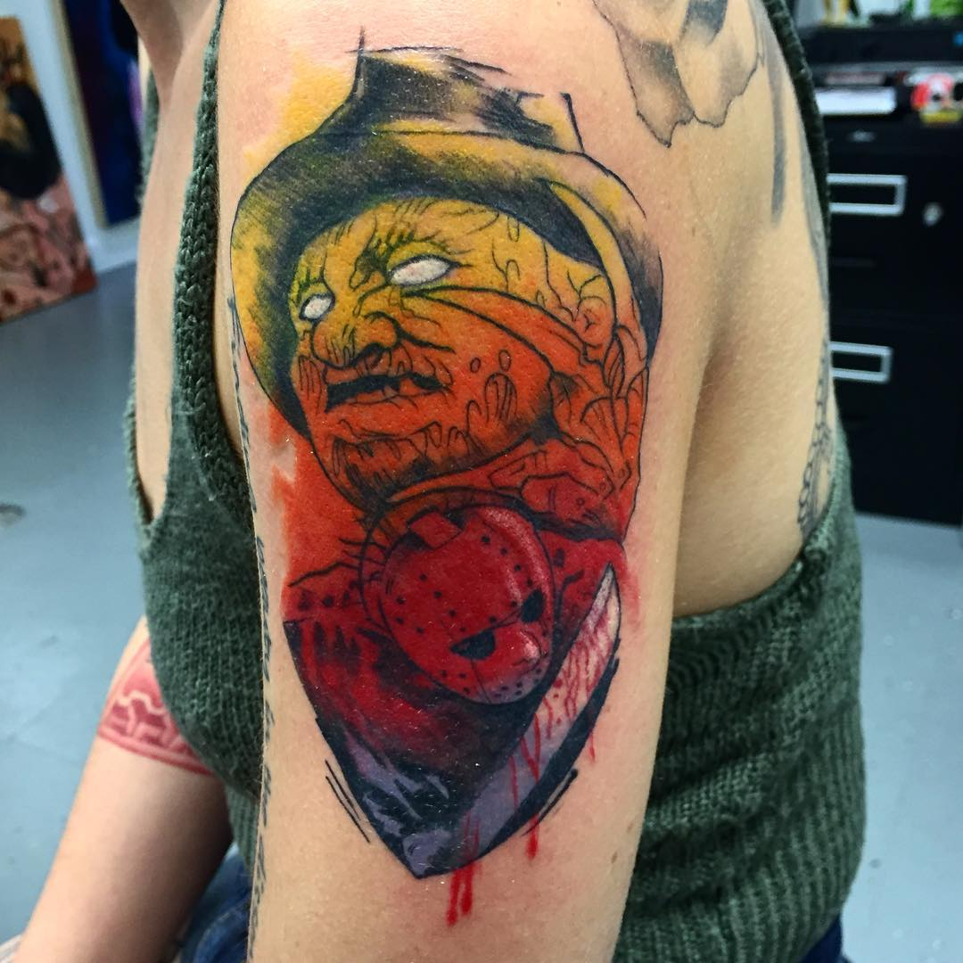 Freddy vs Jason tattoo by suspirialand