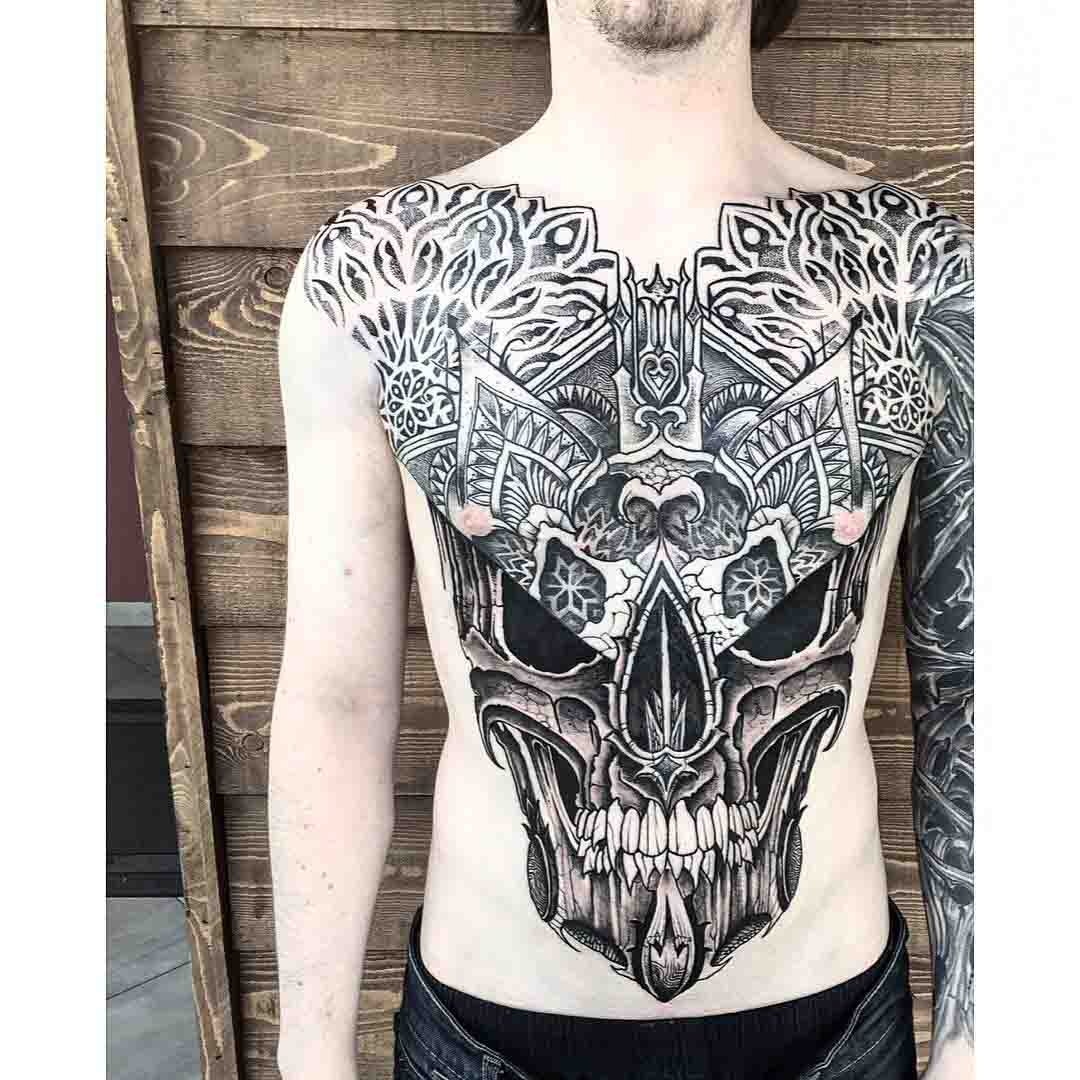 large scale skull tattoo