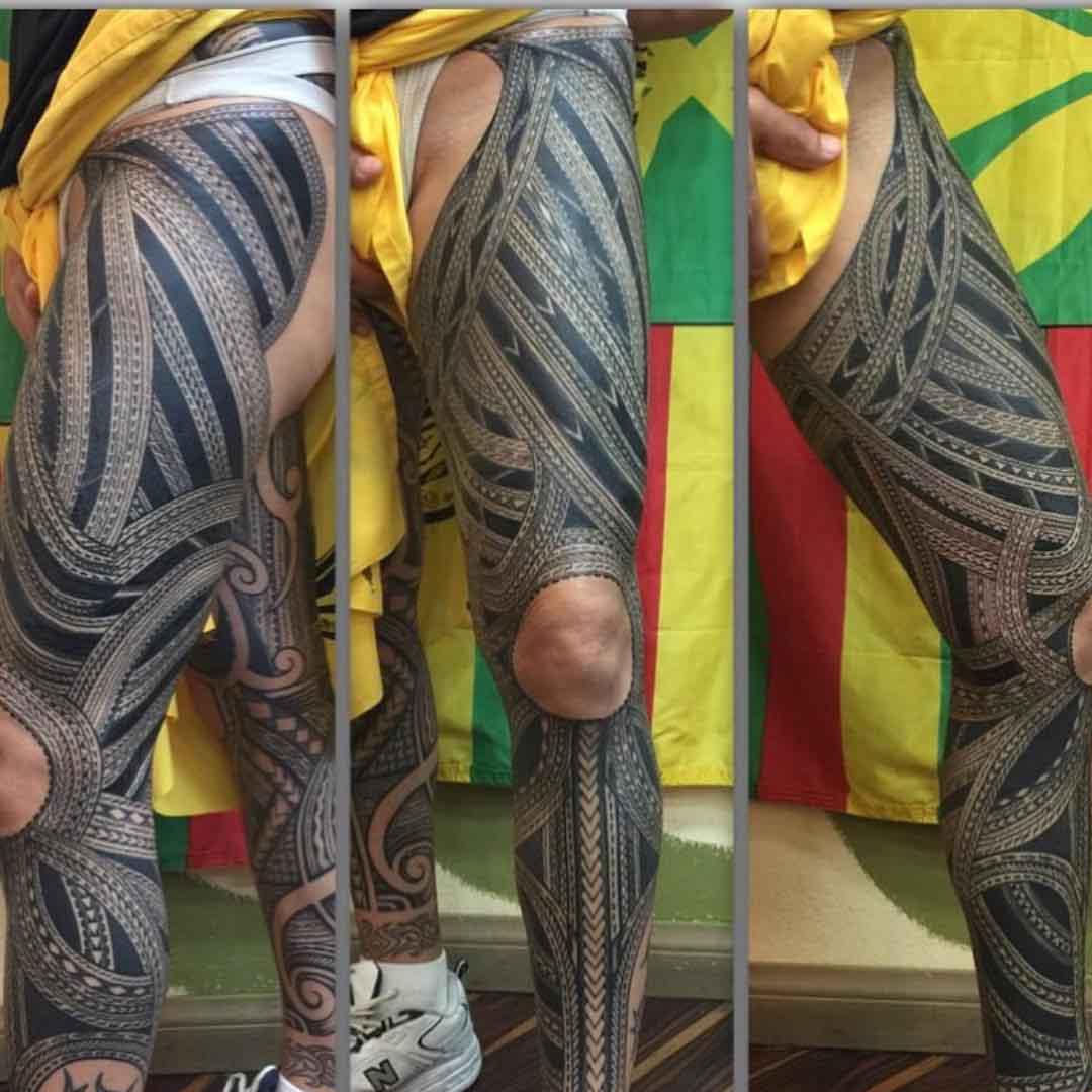 Maori Tattoo Leg Kahilitatau