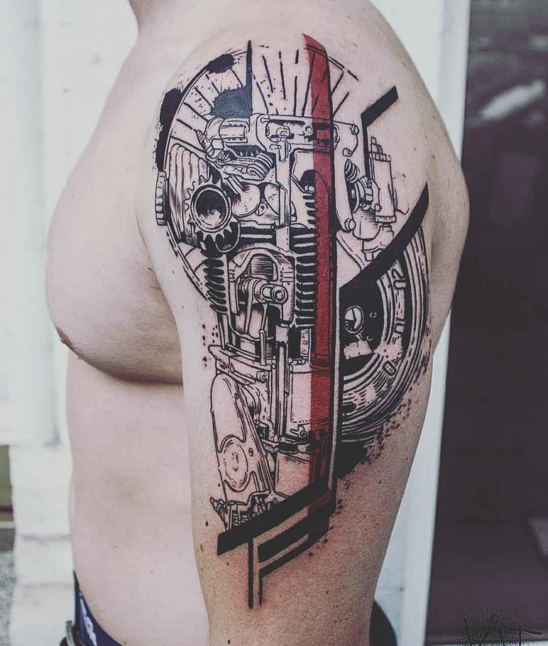 shoulder mechanic tattoo