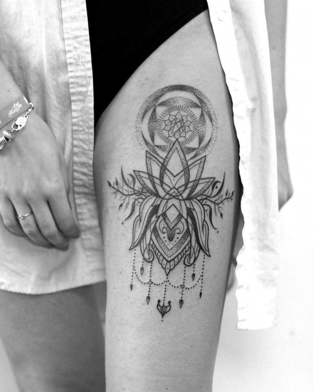 thigh lotus tattoo dotwork