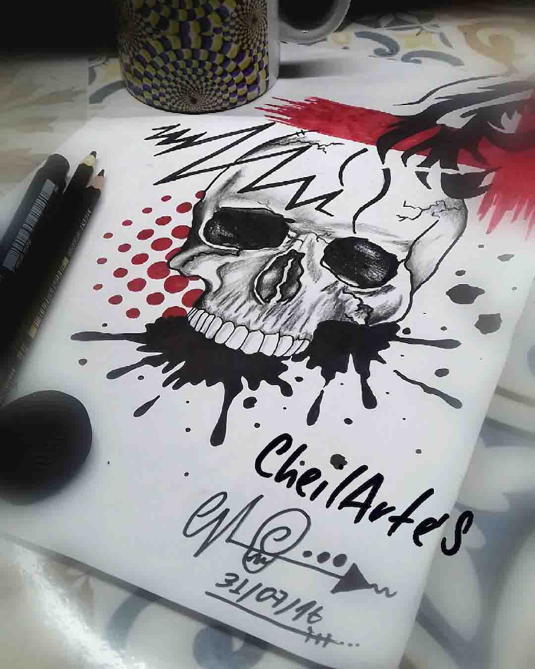 trash polka tattoo skull design