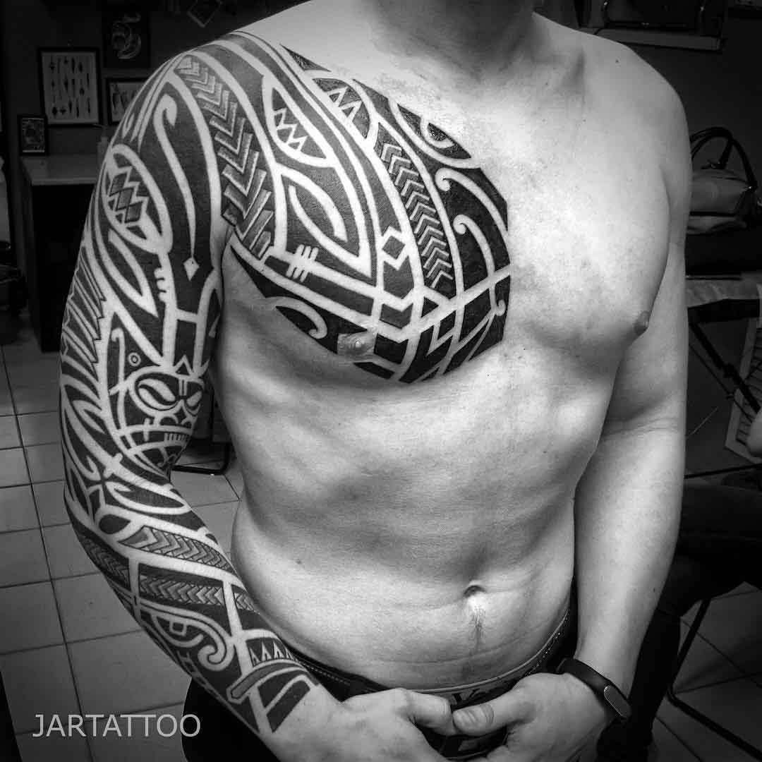Chest Sleeve Tattoo Polynesian