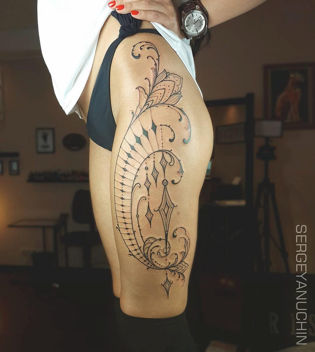 hip tattoo freehand