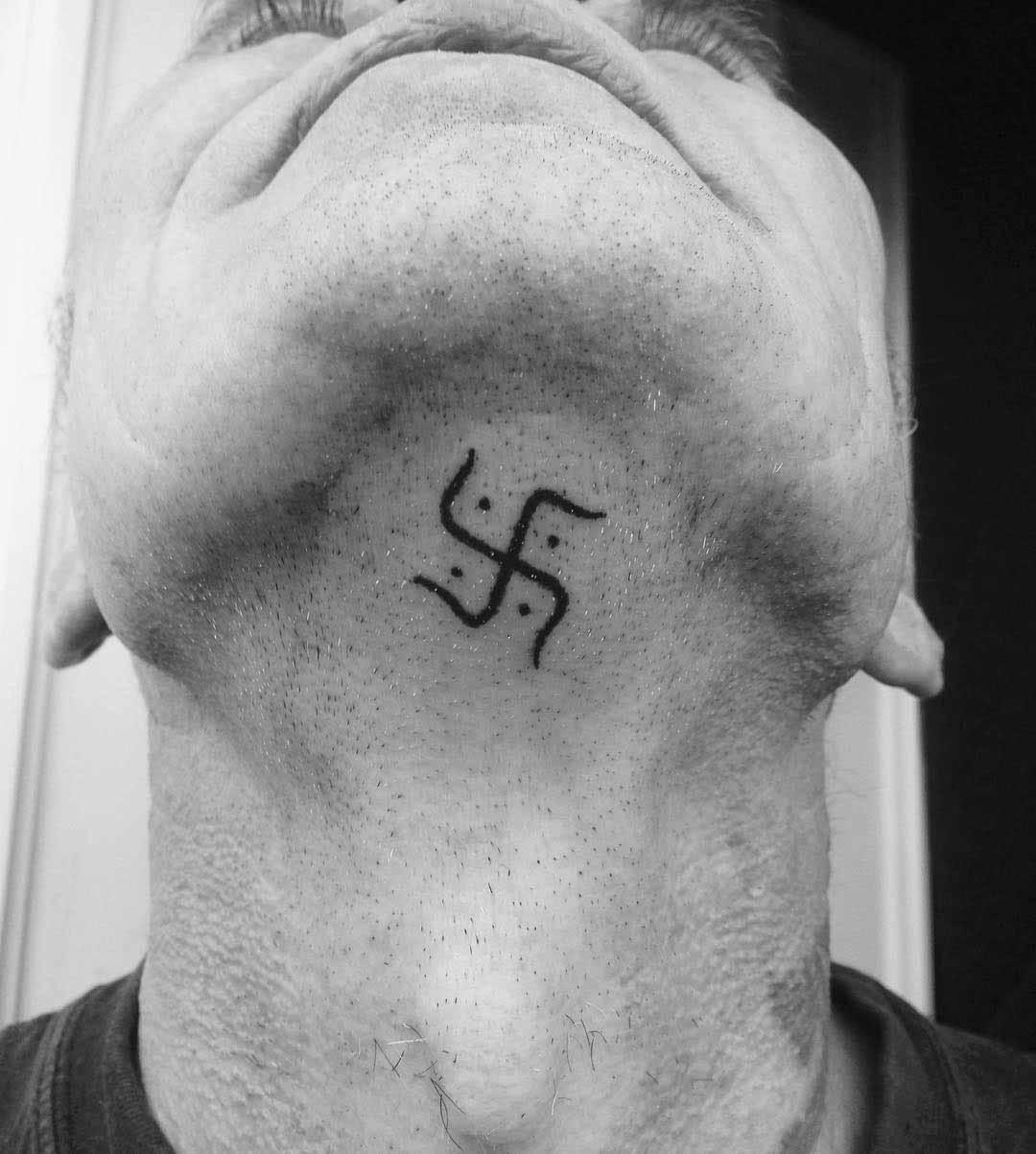 Swastika Tattoo Under The Chin by satans_vandal_handpoked_tattoo