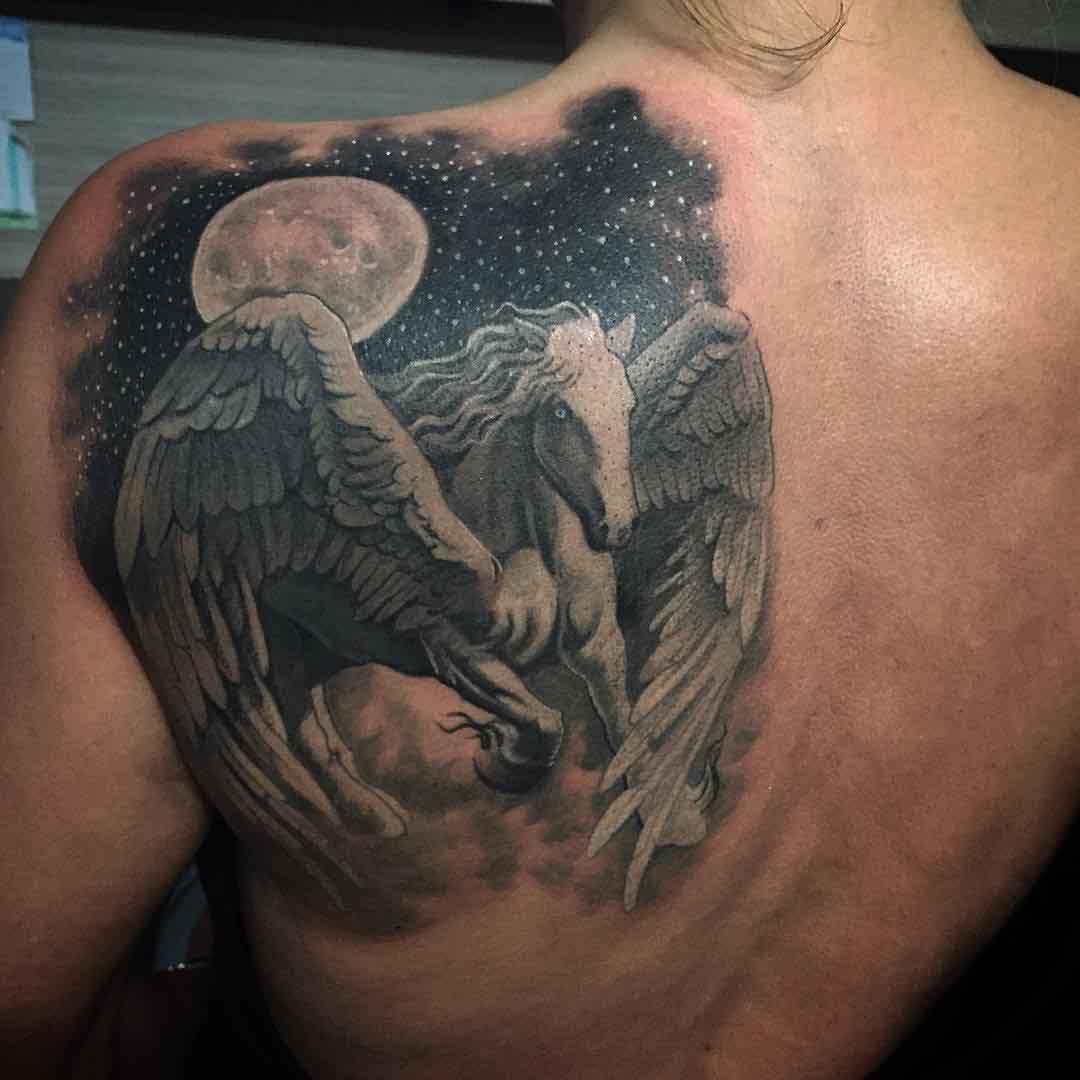 Shoulder Blade Tattoo Pegasus