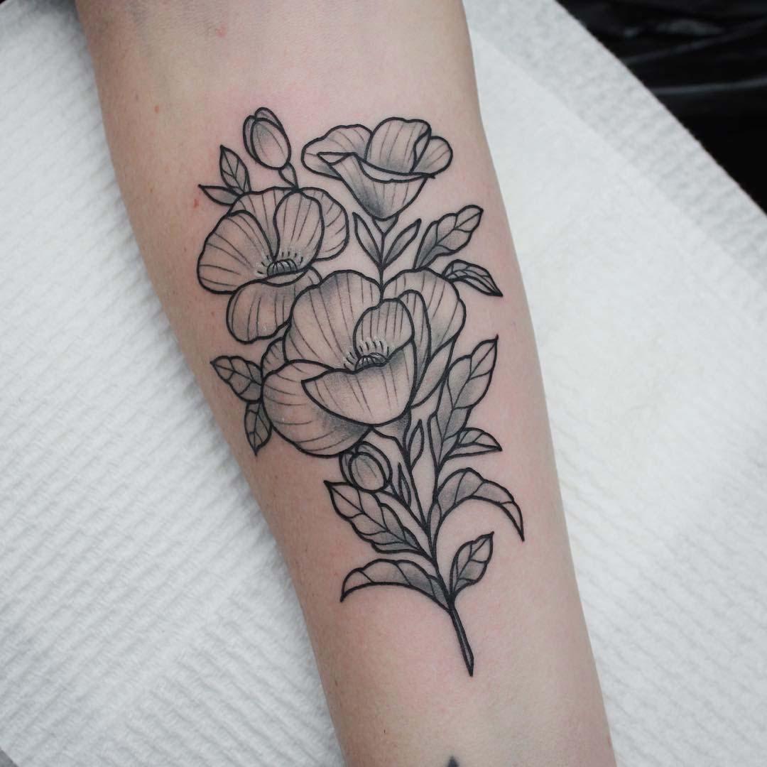 arm tattoo poppy flowers