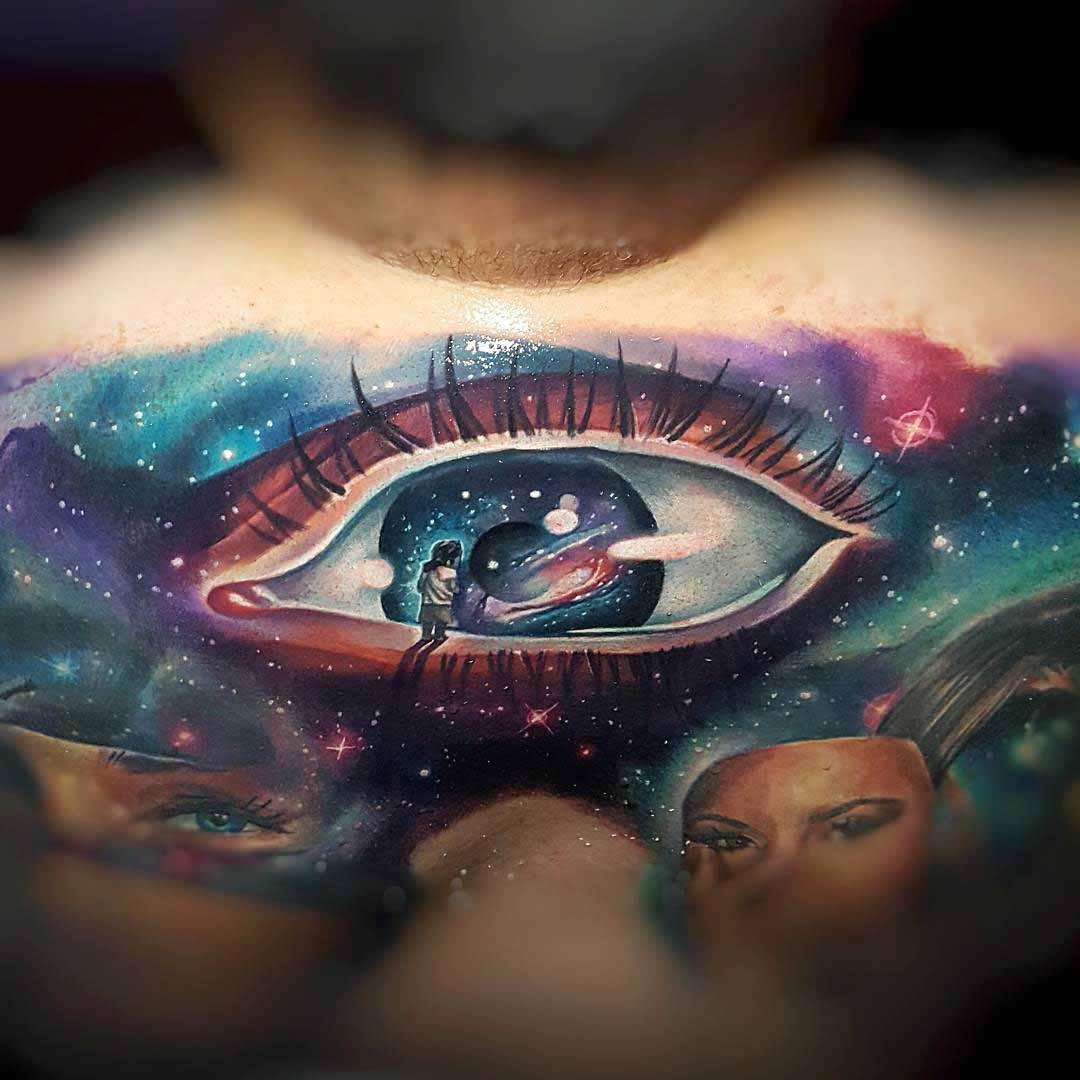 a kid on an eye tattoo