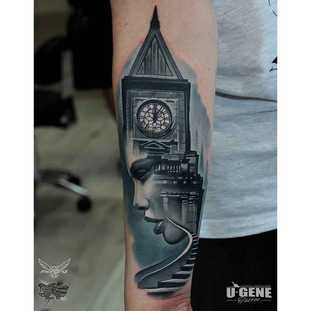 clock tower tattoo on forearm