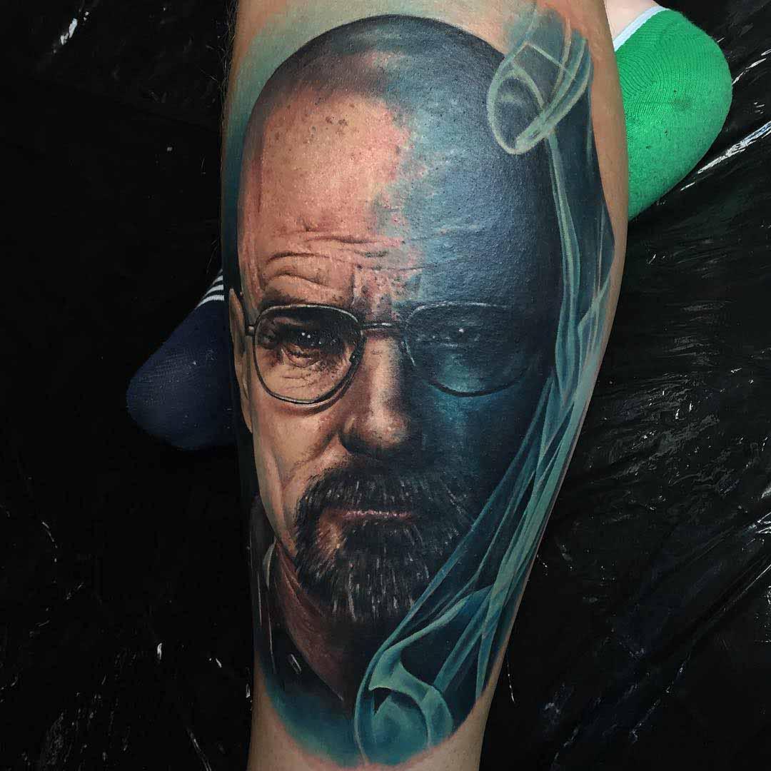realistic Heisenberg tattoo blue smoke