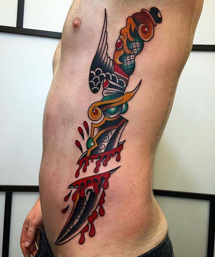 dagger side tattoo neo-traditional