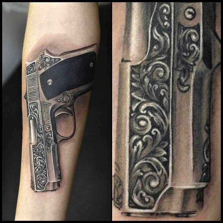 cool gun tattoo