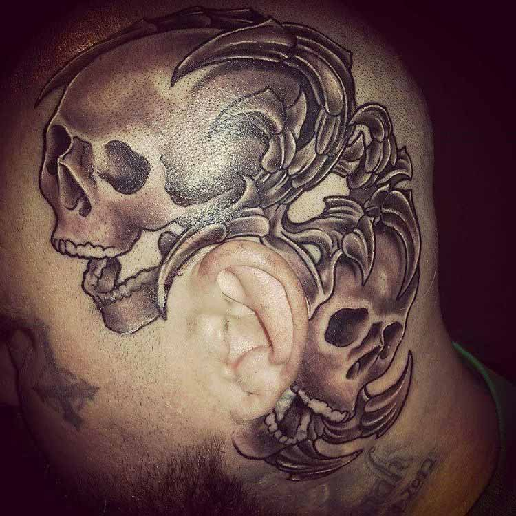 skulls tattoo on head
