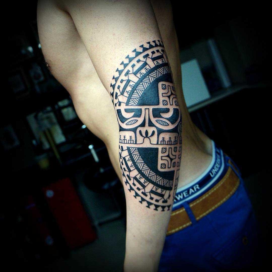 elbow tattoo polynesian