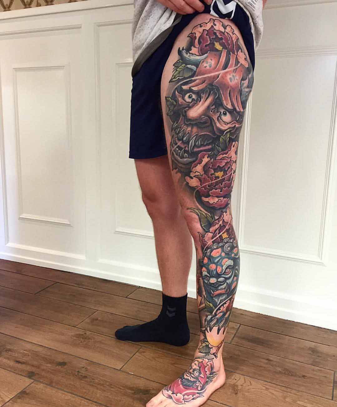 leg sleeve along leg side