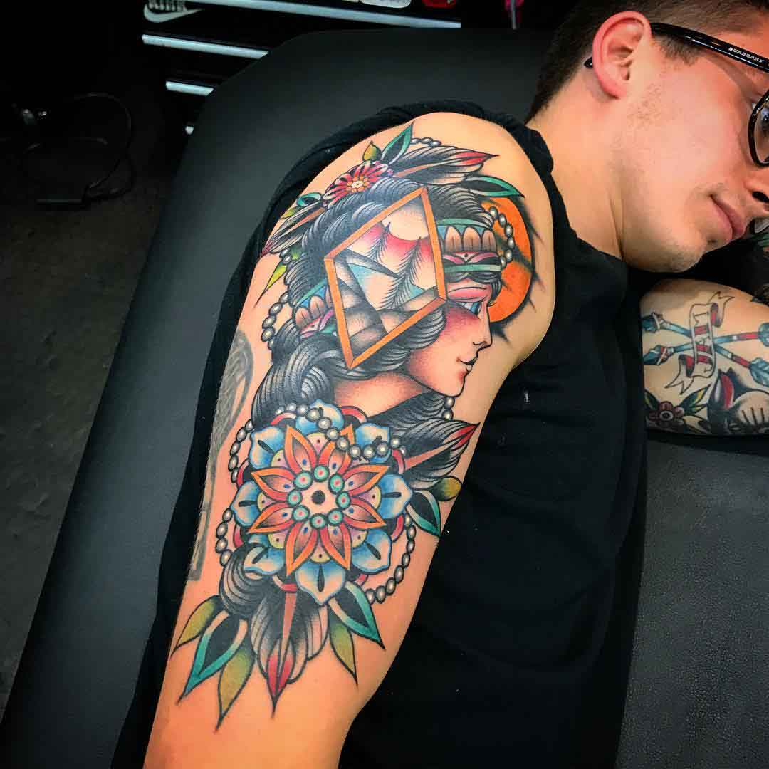 shoulder tattoo neo-traditional