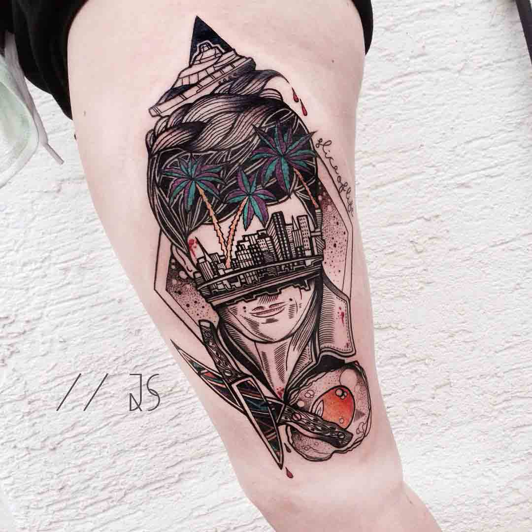 abstract tattoo on thigh and hip