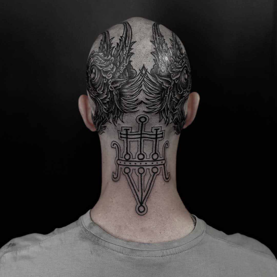 back of head tattoo