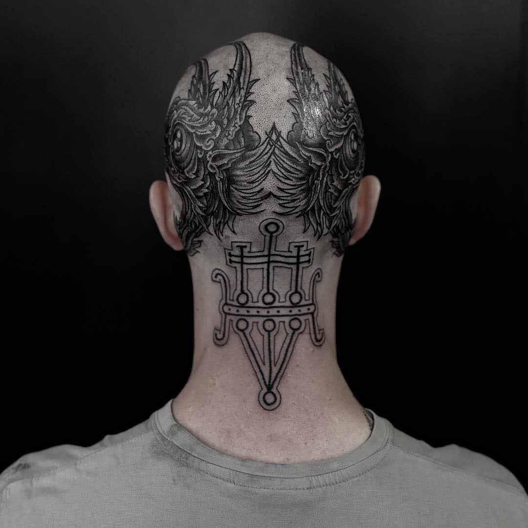 back of head tattoo