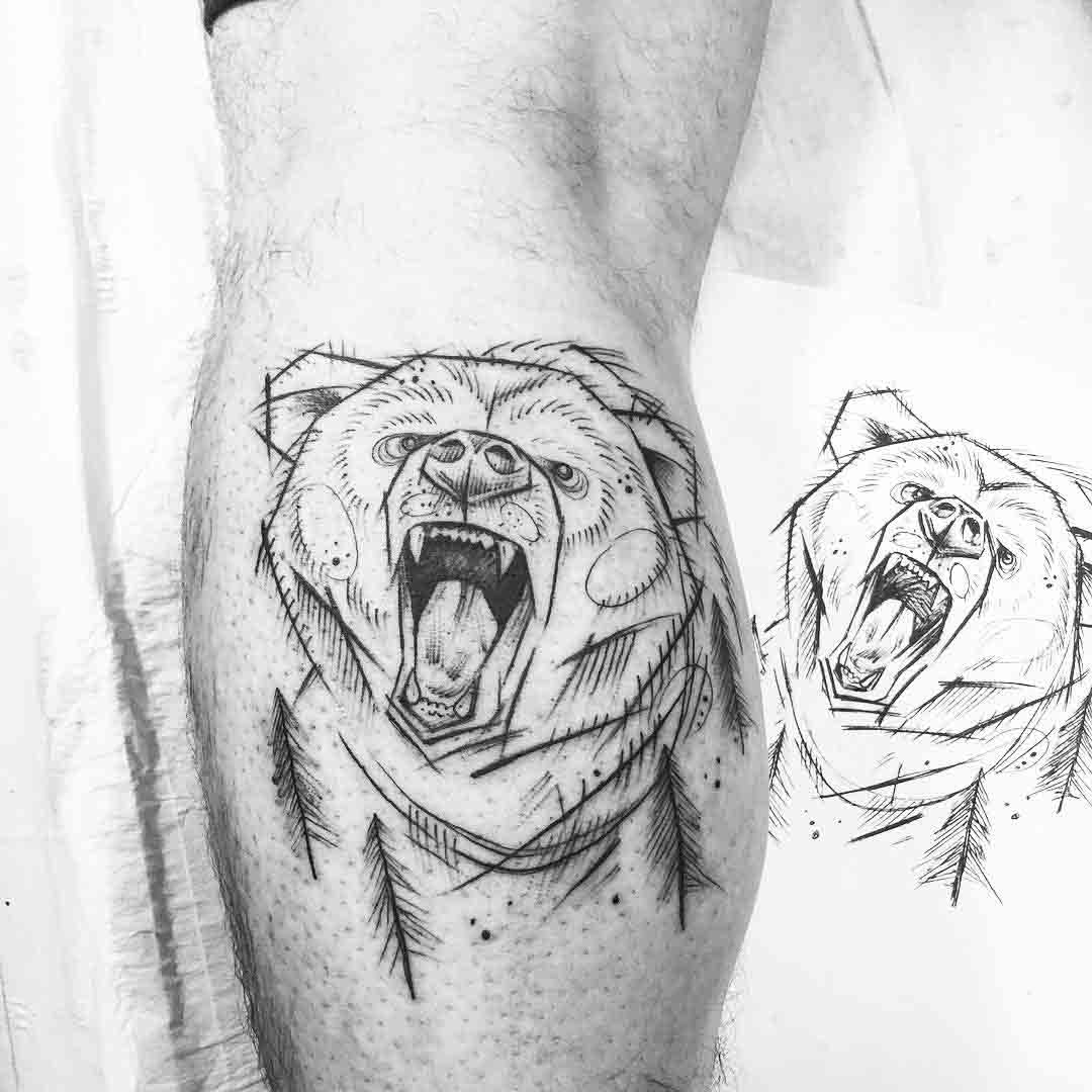 calf tattoo bear