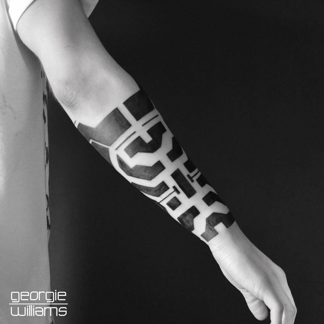 forearm tattoo blackwork ornament
