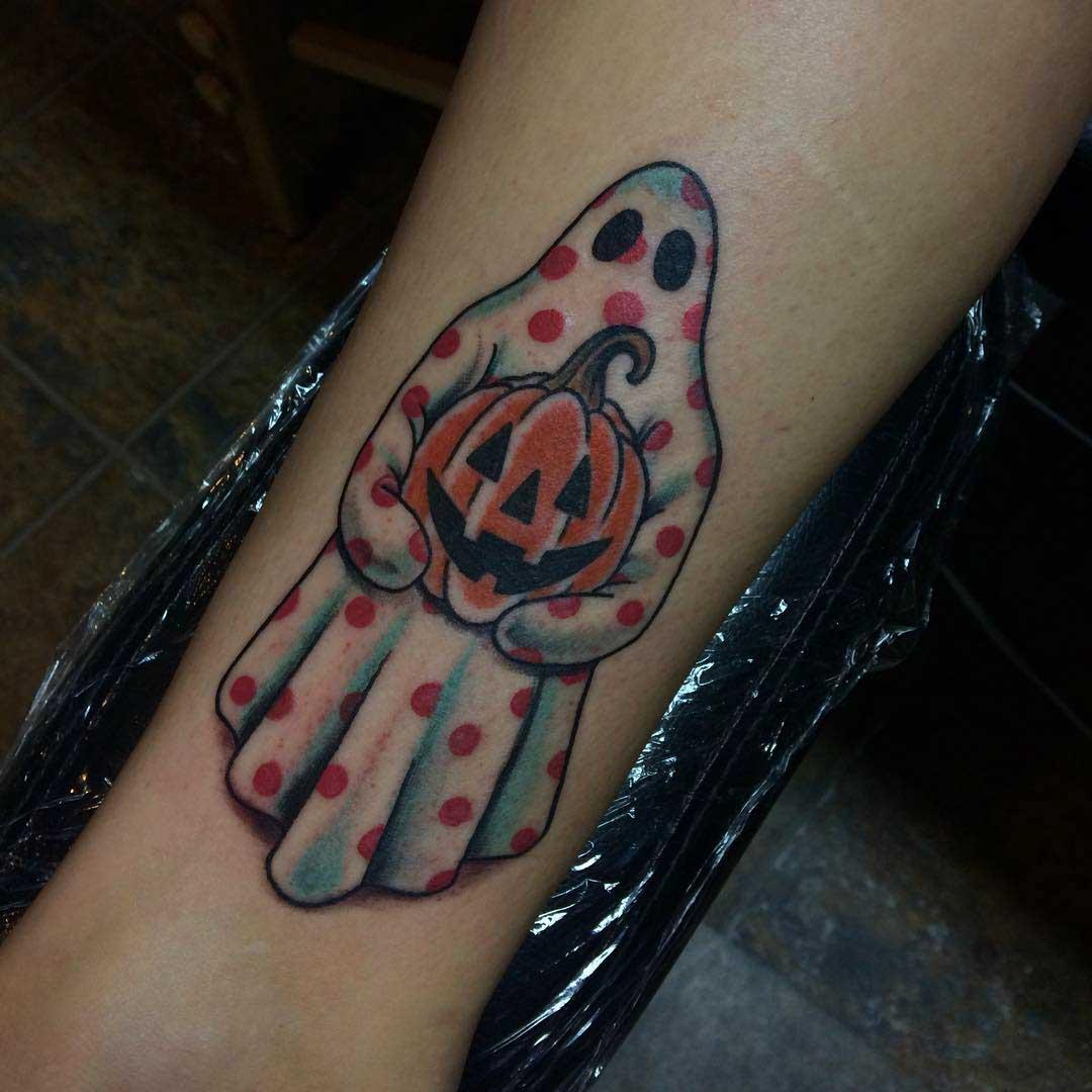 arm tattoo ghost with pumkin Hellooween