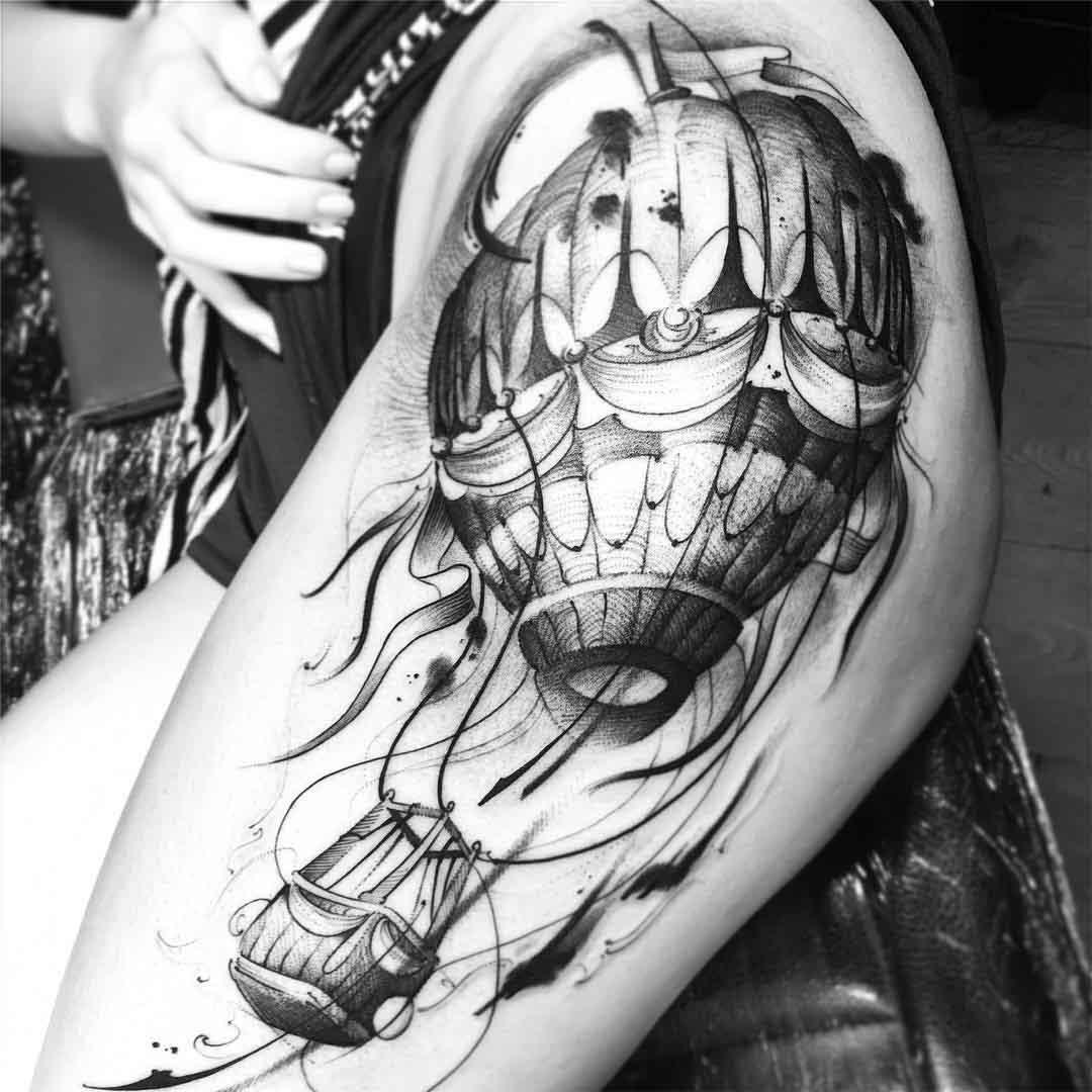 air balloon hip tattoo