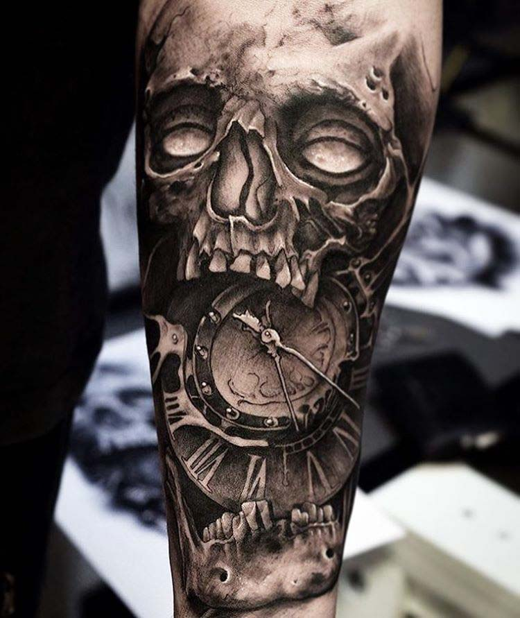 skull tattoo clock black and grey