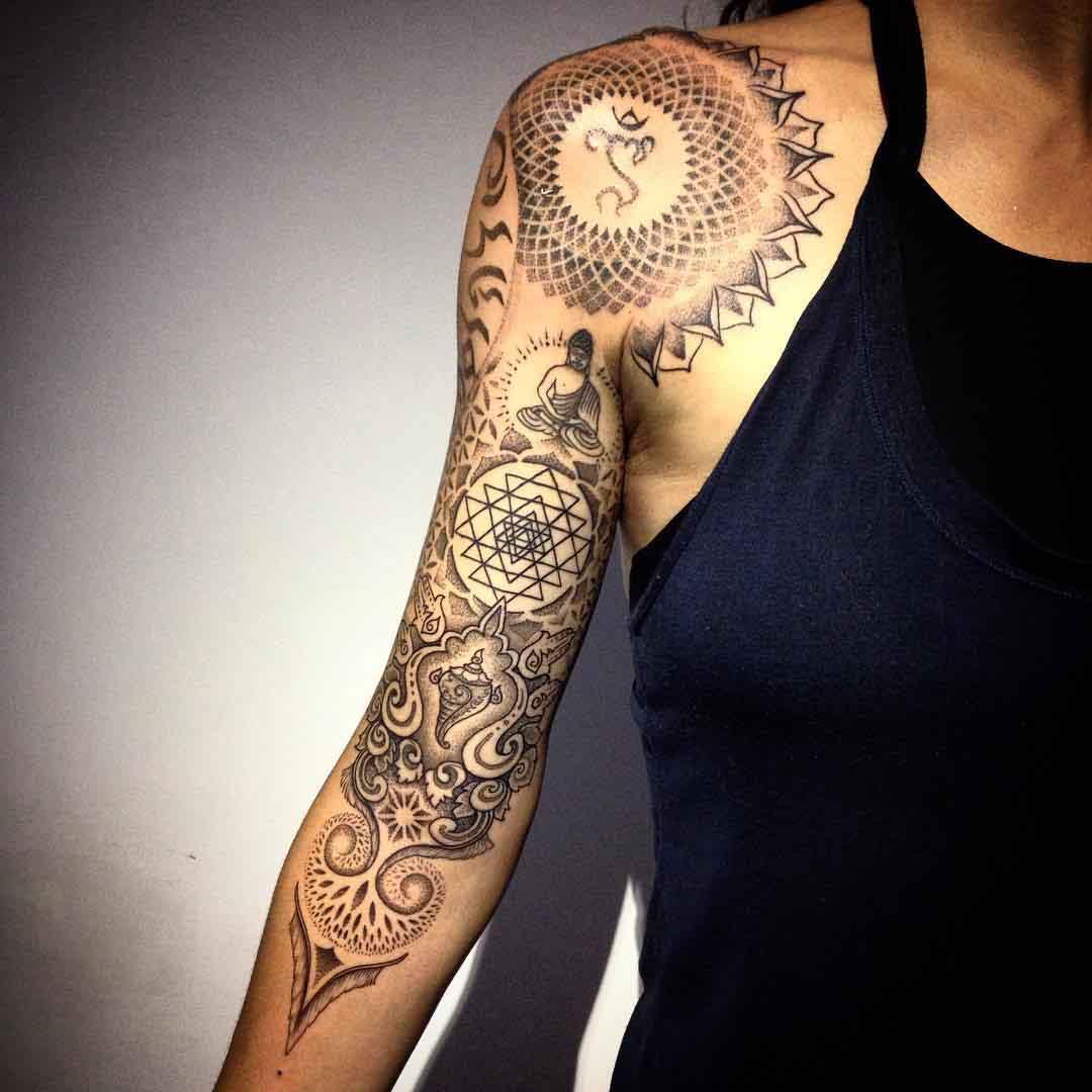 shoulder mandala tattoo sleeve