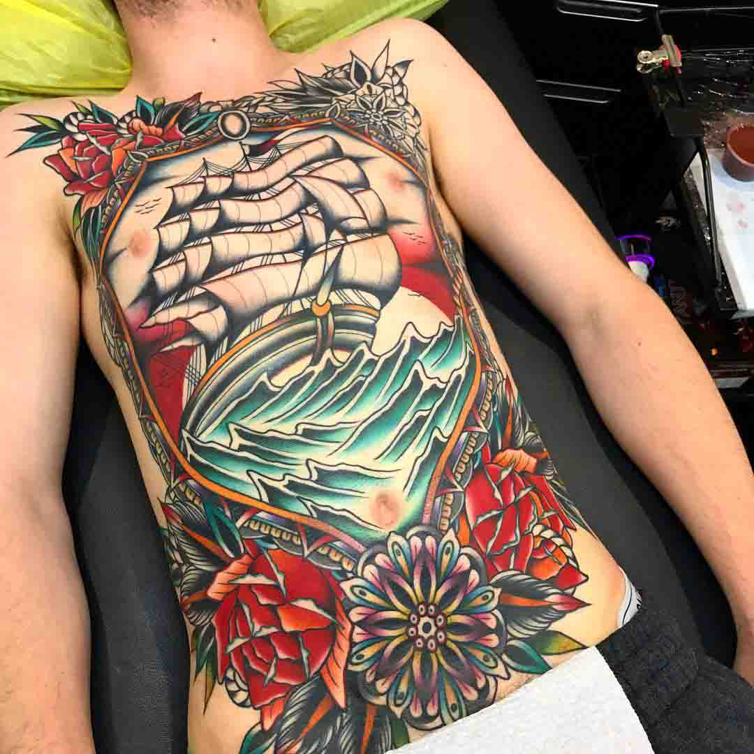full body ship tattoo nautical