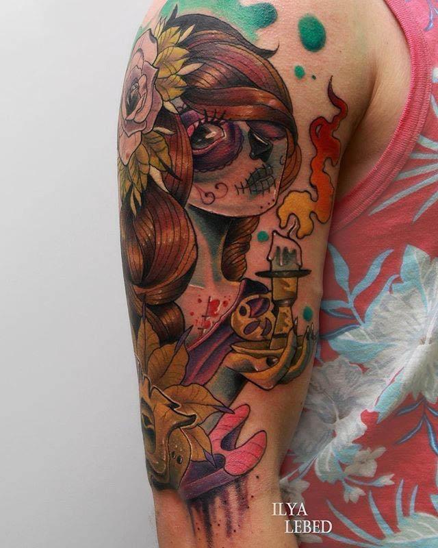 new school santa muerte tattoo
