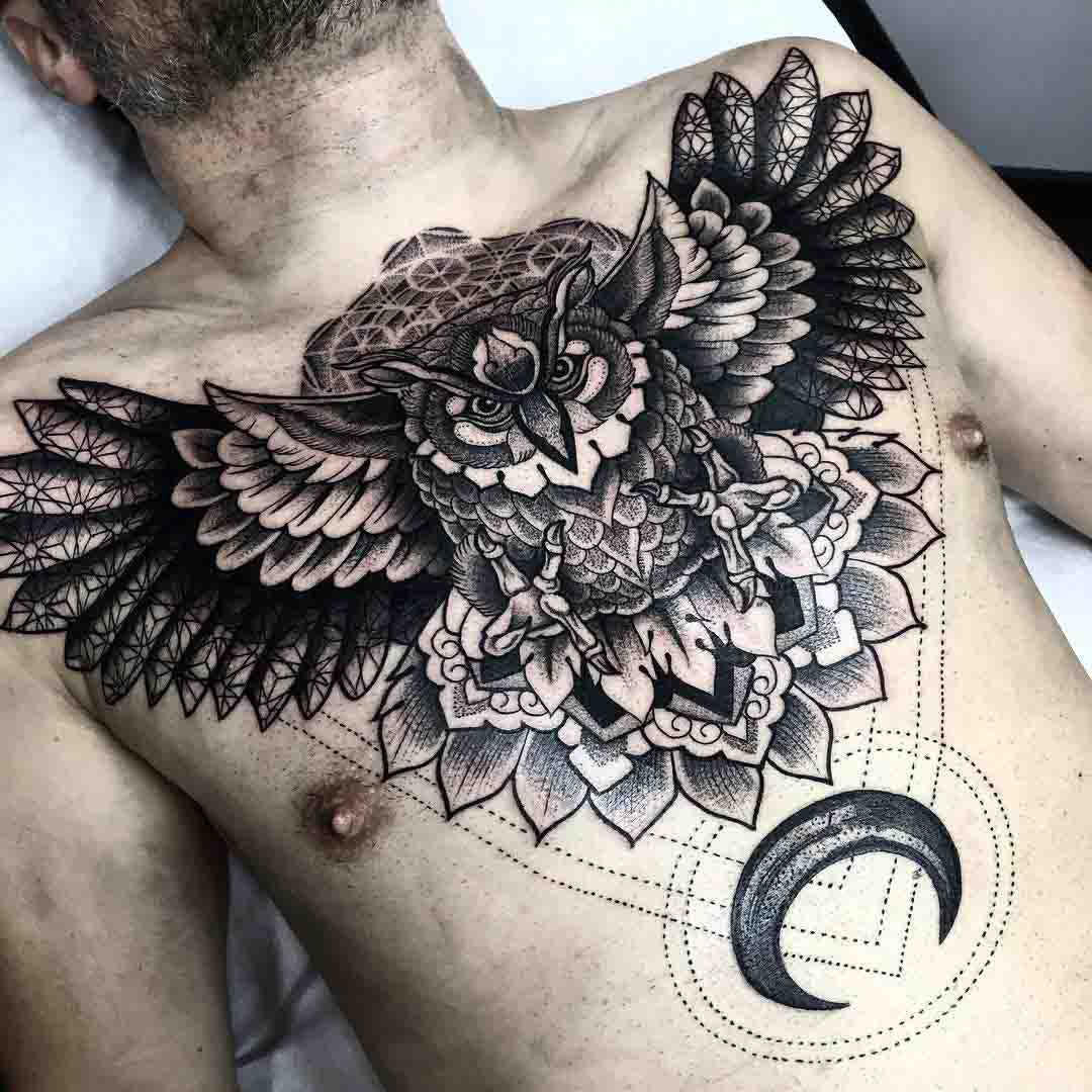 chest tattoo owl and moon