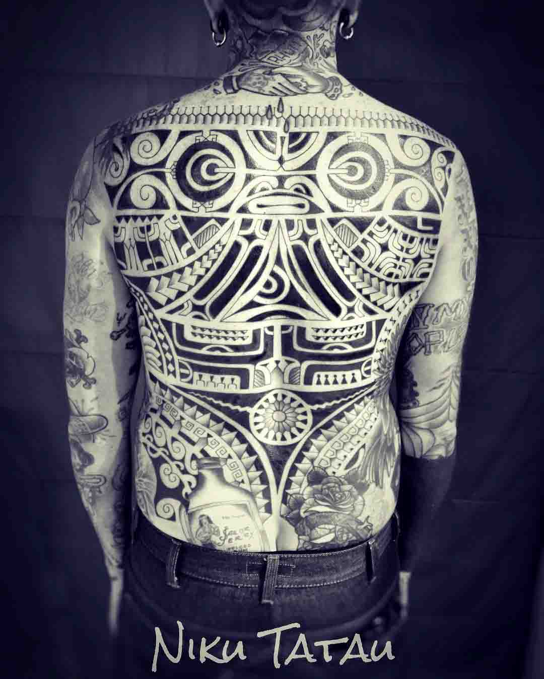 full back polynesian tattoo aztek