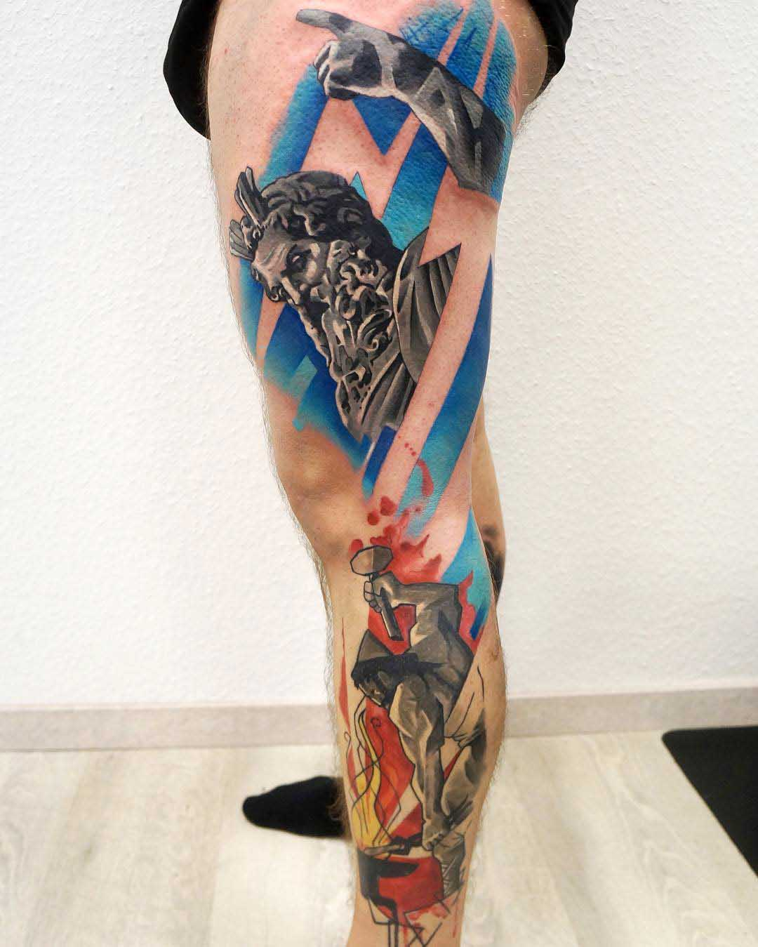 colorful side leg tattoo