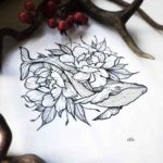 Whale Flowers Tattoo Idea