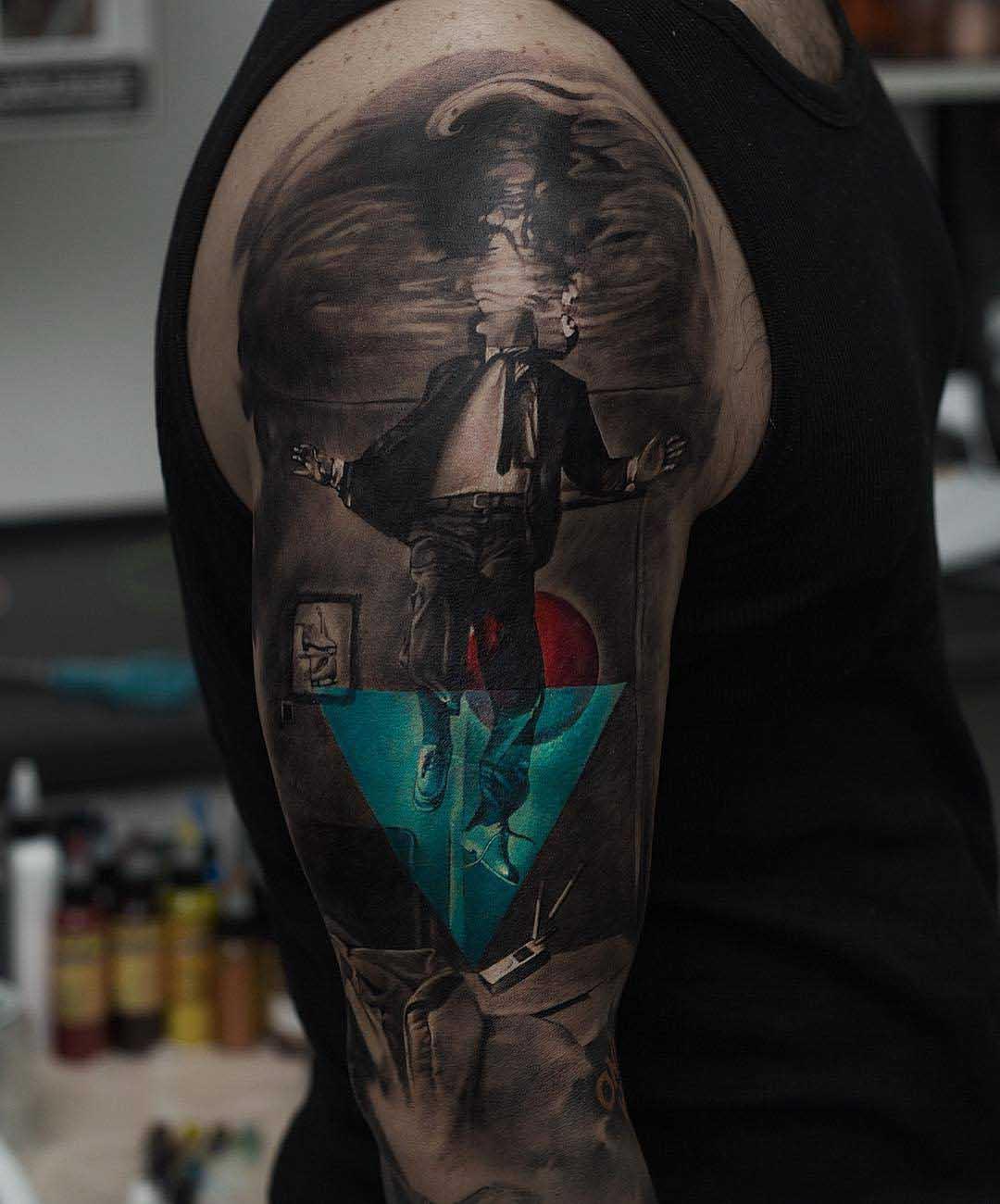 sunken man tattoo on shoulder 3D