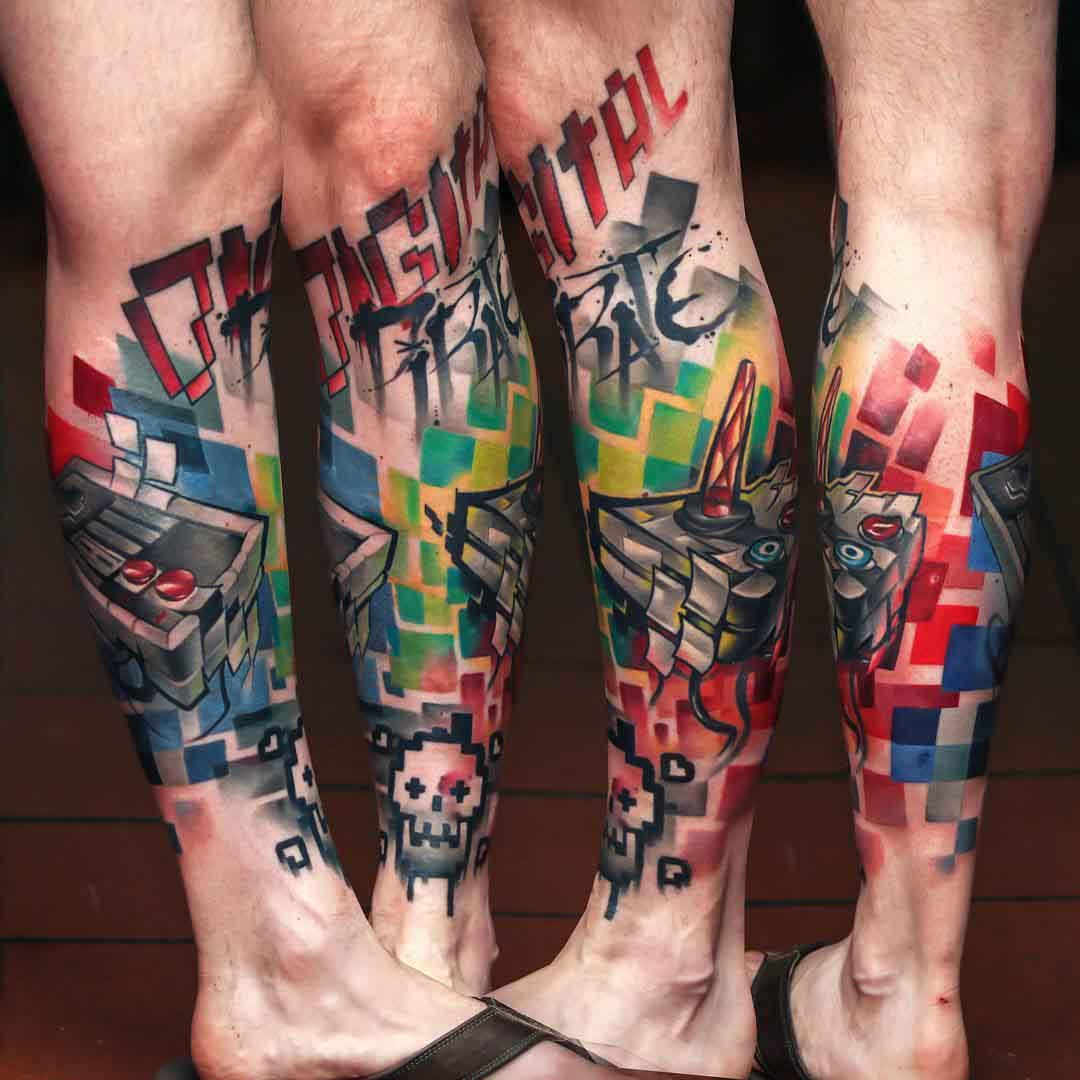 leg tattoo new school 8 bit