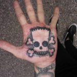 Bart Simpson Skull Tattoo on Palm